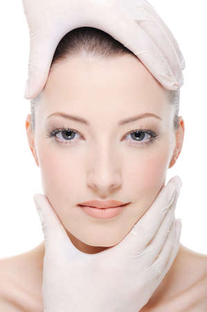 corrective therapy for beautiful female face by beautician - close-up Stock Photo - 4863836