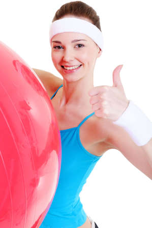happy pretty young girl with big fitball - close-up Stock Photo - 4888252