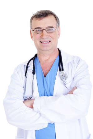 retrato de hombres alegres �xito m�dico con estetoscopio y en bata de hospital Foto de archivo - 5060234