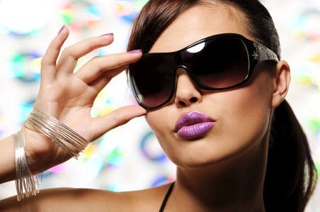 portrait of  beautiful glamour girl with sunglasses - fashion stylish photo