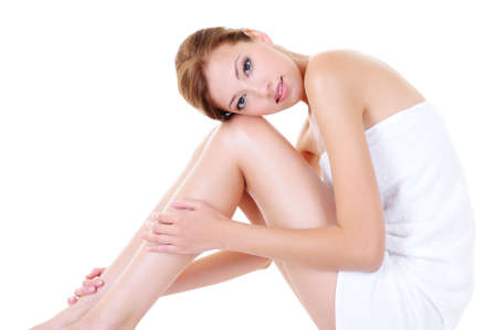 body human skin: Pretty adult girl with perfect legs - isolated on white Stock Photo