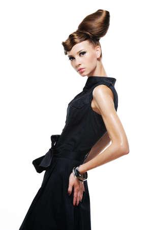 elegancy: Elegancy stylish glamour girl in fashion black dress - isolated on white
