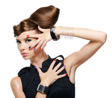 fashion glamour girl with creative hairstyle - white background photo