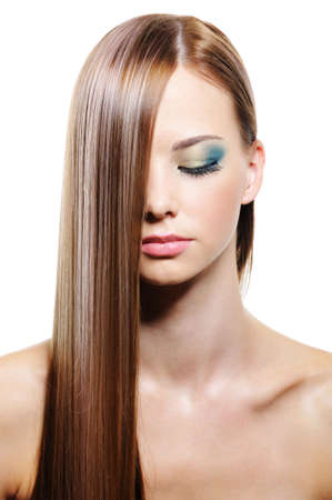 hair design salon: Long straight smooth gloss female hair - isolated Stock Photo