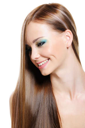 Cheerful pretty beautiful girl with health gloss hair - isolated photo