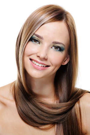 womanliness:  pretty beautiful young woman with charming smile - close-up portrait Stock Photo