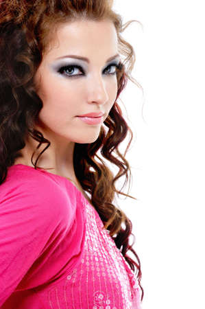 Portrait of young beautiful female with fashion blue bright make-up Stock Photo - 5266831