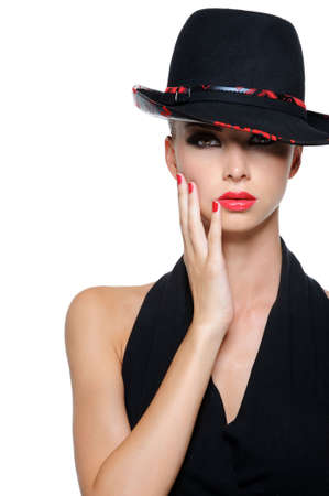 chic woman: Glamour elegant sexy female with gorgeous black hat Stock Photo