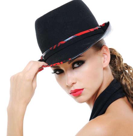 unblemished: Portrait of glamour stylish luxuriant female with fashionable female hat