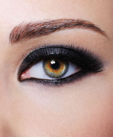 Part of female with eye with bright black glamour make-up - macro shot Stock Photo - 5266834