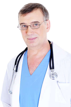 portrait of caucasian mature male doctor with stethoscope on his neck photo