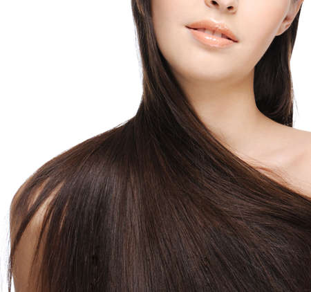 female shoulder with beautiful long hair photo
