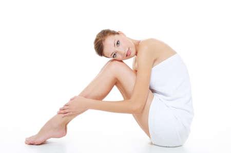 handtcher: Gesunden erwachsenen Frau mit Sch�nheit Beine Lizenzfreie Bilder