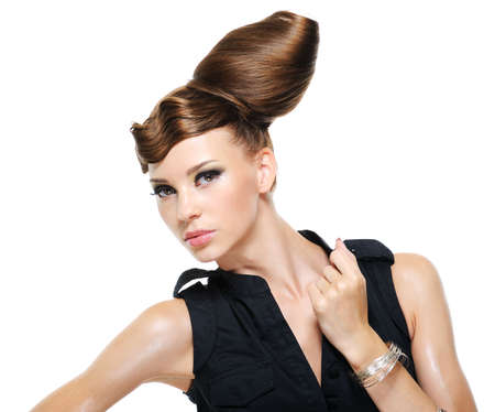 feminity: Pretty adult girl with creative fashion stylish female hairstyle - isolated with copy space
