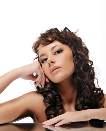Beauty and charm of young brunette woman with charming look photo