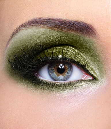 khaki: Make-up of woman eye with khaki eyeshadows Stock Photo