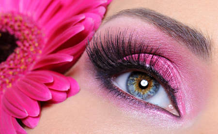 Woman eye with pink make-up and false eyelashes -   gerber flower