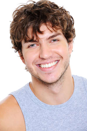 people laughing: Portrait of handsome young man with happy smile - isolated