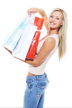 Happiness and gladness for adult woman in shopping - white background Stock Photo - 5594137