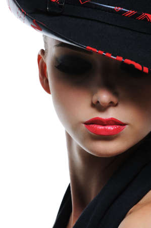 Close-up expressive portrait of glamour fashionable woman with bright red sexy lips photo