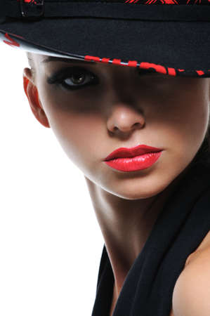 elegancy: Portrait of gorgeous  female with  bright red lips and stylish hat