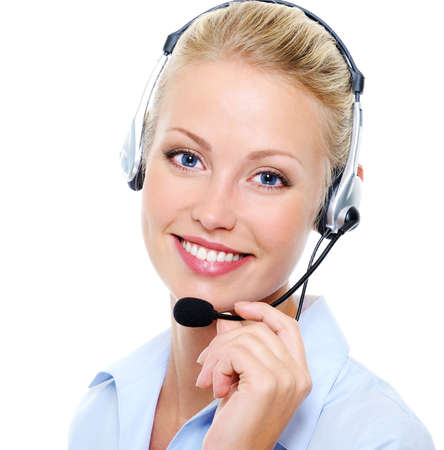 Face of beautiful smiling happy woman in headset photo