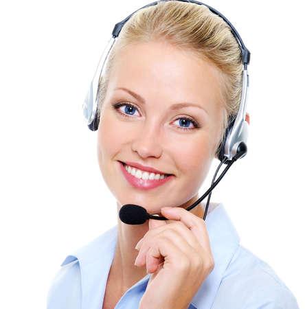 Visage de la belle femme heureuse souriant dans casque Banque d'images - 5594140
