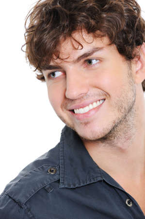 toothy: Happy face of handsome guy with toothy smile - close-up