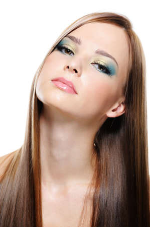 Portrait of beautiful nice young woman with beautiful long hair photo