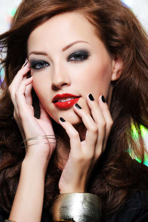 Bright stylish make-up on the beautiful pretty female face