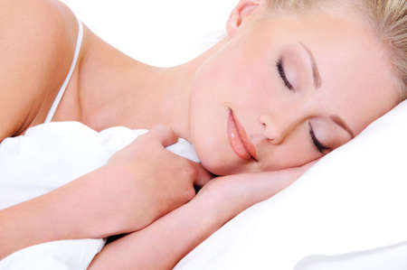 white pillow: Close-up face of pretty beautiful woman sleeping in the white  pillow  Stock Photo
