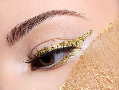 Fashion make-up in golden eyeliner arrow on the female with a yellow leaf photo