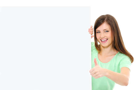 thumbsup: Happy casual female  with a blank banner showing thumbs-up