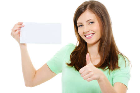thumbsup: Young beauty woman hold blank card and showing thumbs-up over white background