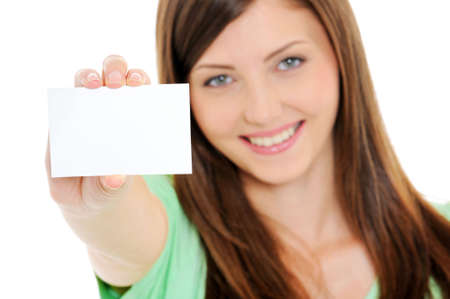 hand business card: High angle view of happy woman showing the blank bussiness card in hand