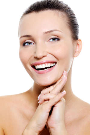 womanhood: Beautiful young laughing female face with the healthy withe smile
