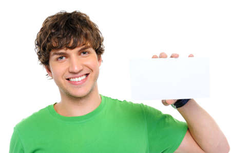 Handsome happy casual man holding the blank card Stock Photo - 5830708
