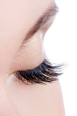 falso: Disparo de macro de un ojo femenino con las pesta�as falsas durante mucho tiempo