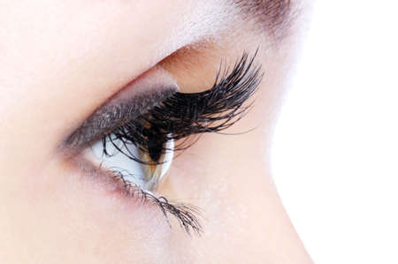 pretty eyes: Profile view of a human eye with a long curl false eyelashes