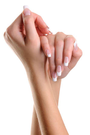 Beautiful elegant  female hands over white background Stock Photo - 5859083