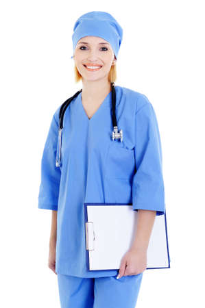 Happy female doctor with stethoscope and folder -  isolated on white photo