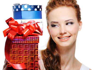 Happiness of a young girl looking and holding the birthday presents  Stock Photo