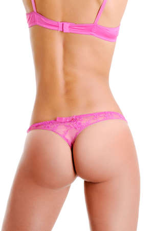 naked female body: Rear view of beautiful naked female body in a pink  lingerie.