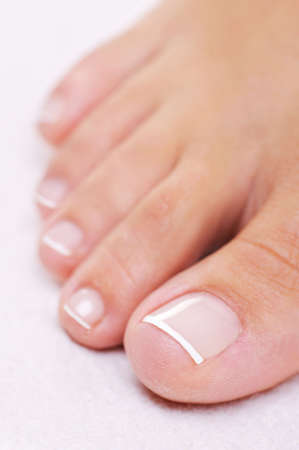 Single well-groomed female foot with a french pedicure. Close-up toy. photo