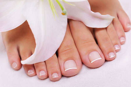 female feet: Beautiful well-groomed female feet with the French pedicure and flower Stock Photo