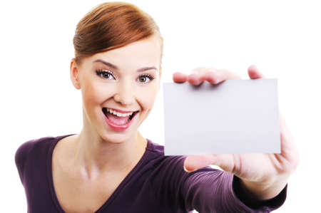 Fun and laughing beautiful female person with blank business card  in hand. High angle view Stock Photo