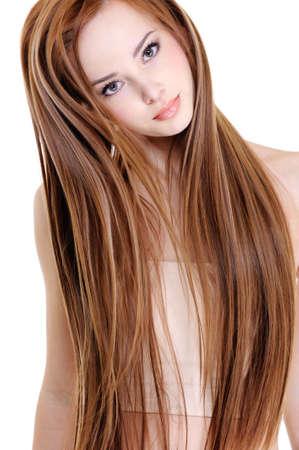 人間の髪の毛: 美容ロング ストレート毛と美しい若い女性の肖像画
