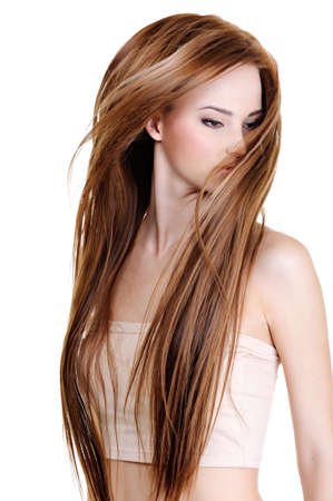styling: portrait of the cute young woman with beauty long straight hairs - isolated on white