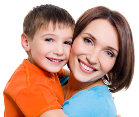 child portrait: Young happy cheerful mother with little son on a white background