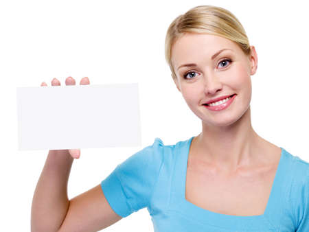 Young beautiful  woman holding the blank business card near her face - on a white background Stock Photo - 6121704